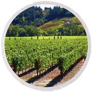 Vineyards In Sonoma County Round Beach Towel