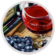 Vino 2 Round Beach Towel