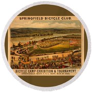 Round Beach Towel featuring the photograph Vintage 1883 Springfield Bicycle Club Poster by John Stephens
