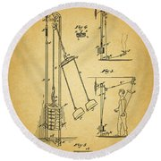 Vintage 1885 Exercising Device Patent Round Beach Towel by Dan Sproul