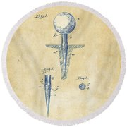 Vintage 1899 Golf Tee Patent Artwork Round Beach Towel by Nikki Marie Smith