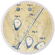 Vintage 1910 Golf Club Patent Artwork Round Beach Towel by Nikki Marie Smith