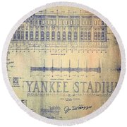 Vintage 1920s Art Deco Yankee Stadium Blueprint Round Beach Towel