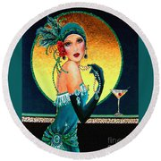 Vintage 1920s Fashion Girl  Round Beach Towel