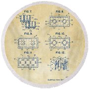 Round Beach Towel featuring the digital art Vintage 1961 Lego Brick Patent Art by Nikki Marie Smith