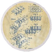 Round Beach Towel featuring the drawing Vintage 1961 Toy Building Brick Patent Art by Nikki Marie Smith