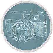 Vintage 35mm Film Camera Blue Pop Art Round Beach Towel
