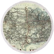 Vintage Aaa Map Of Us Transcontinental Routes - 1918 Round Beach Towel