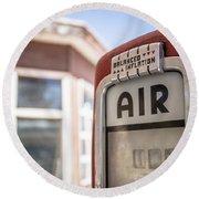 Vintage Air Pump Machine At An Abandoned Gas Station Round Beach Towel