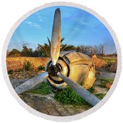 Vintage Airplane Propeller At Sunrise Round Beach Towel by Stephan Grixti