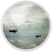Vintage Airplanes Round Beach Towel