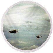 Vintage Airplanes Round Beach Towel