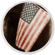 Round Beach Towel featuring the photograph Vintage America by Barbara S Nickerson