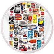 Vintage American Brands Round Beach Towel