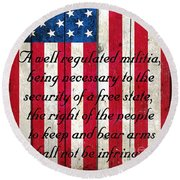 Vintage American Flag And 2nd Amendment On Old Wood Planks Round Beach Towel