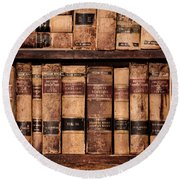 Round Beach Towel featuring the photograph Vintage American Law Books by Jill Battaglia