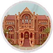 Vintage Architectural Photograph Of Ashbel Smith Old Red Building At Utmb - Downtown Galveston Texas Round Beach Towel