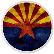 Vintage Arizona Flag Round Beach Towel by Jon Neidert