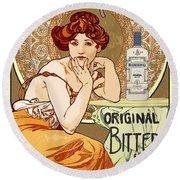 Vintage Art Nouveau Bechers Original Bitter 1807 Round Beach Towel