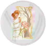 Vintage Art Nouveau Flower Lady Round Beach Towel
