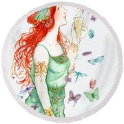 Vintage Art Nouveau Lady Party Time Round Beach Towel