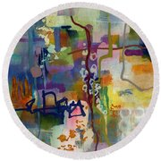 Round Beach Towel featuring the painting Vintage Atelier 2 by Hailey E Herrera