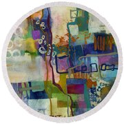 Round Beach Towel featuring the painting Vintage Atelier by Hailey E Herrera