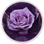 Vintage Aug Purple Rose Round Beach Towel
