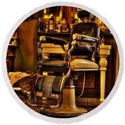 Vintage Barber Chair Round Beach Towel