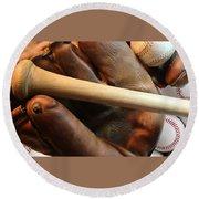Vintage Baseball Round Beach Towel by Pat Cook