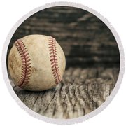 Vintage Baseball Round Beach Towel by Terry DeLuco