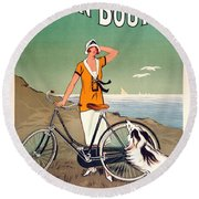 Vintage Bicycle Advertising Round Beach Towel by Mindy Sommers