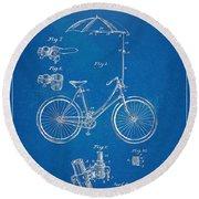 Vintage Bicycle Parasol Patent Artwork 1896 Round Beach Towel