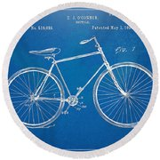 Round Beach Towel featuring the digital art Vintage Bicycle Patent Artwork 1894 by Nikki Marie Smith