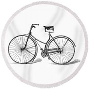 Round Beach Towel featuring the digital art Vintage Bike by ReInVintaged