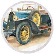Vintage Blue Bugatti Classic Car Round Beach Towel