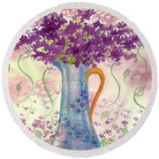 Round Beach Towel featuring the painting Vintage Blue Flower Bouquet by Cathie Richardson