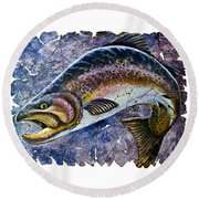 Vintage Blue Trout Fresco  Round Beach Towel