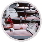 Vintage Boats Round Beach Towel