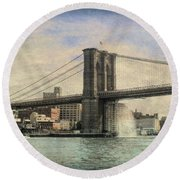 Vintage Brooklyn Bridge Round Beach Towel