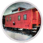Round Beach Towel featuring the photograph Vintage Caboose - Winter Train by Joann Vitali