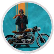 Vintage Cafe Racer  Round Beach Towel