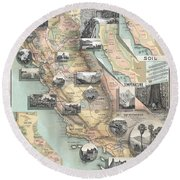 Vintage California Map Round Beach Towel