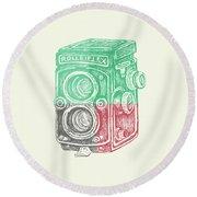 Vintage Camera Color Round Beach Towel