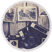 Vintage Camera Gallery Round Beach Towel