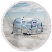 Vintage Camping Trailer In The Clouds Round Beach Towel