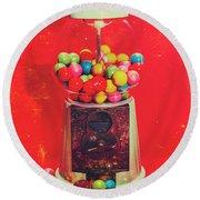 Vintage Candy Store Gum Ball Machine Round Beach Towel