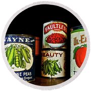Vintage Canned Vegetables Round Beach Towel