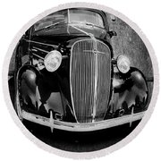 Vintage Car Art Shuffle Bw Round Beach Towel