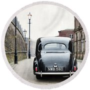 Vintage Car On A Cobbled Street Round Beach Towel by Lee Avison